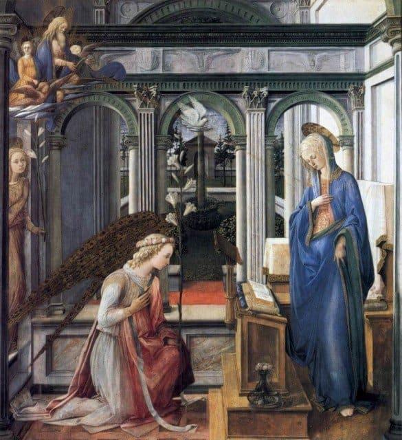 Благовещение. 1443 г. Фра Филиппо Липпи. Старая Пинакотека, Мюнхен.