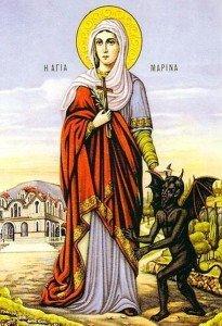 Св. вмц. Марина. Цветная литография. Греция, конец XIX века