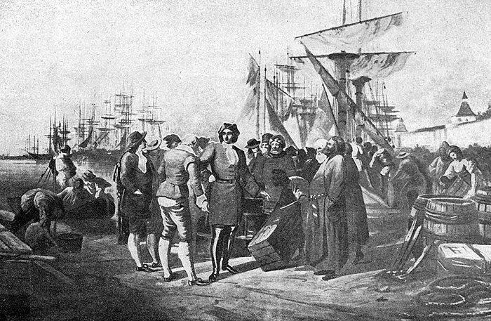 Петр I в Архангельске в 1693 году. Иллюстрация из альбома «Русский военный флот». 1904