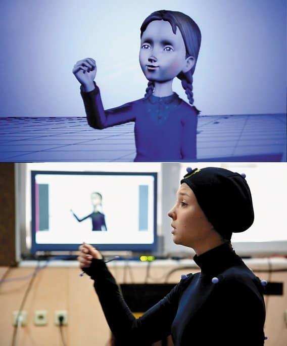 Движения актрисы переносятся на модель персонажа (вданном случае— Серафимы)