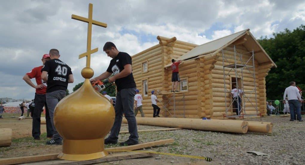 На «Русском поле» за день построят уникальный храм
