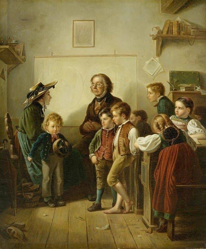Benjamin I Vautier Benjamin Vautier. The First School Lesson. 1870 г.
