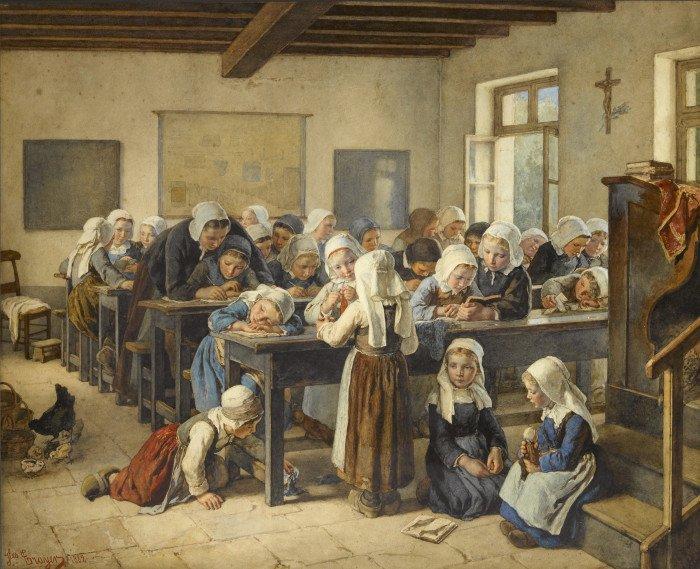 Jean-Baptiste Jules Trayer. A Breton Infants School. 1882 г.