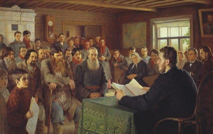 Н. П. Богданов-Бельский. Воскресные чтения в сельской школе. 1895.