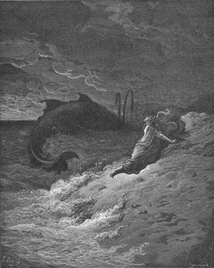 Гюстав Доре. Пророк Иона, изверженный китом. Ион. 2. 1-11. 1866