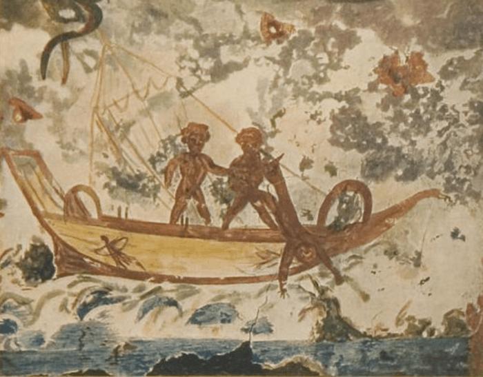 Иона. Фреска. Катакомбы Присциллы, Рим