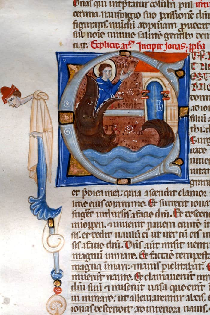 Leaf from Bentivoglio Bible, circa 1270