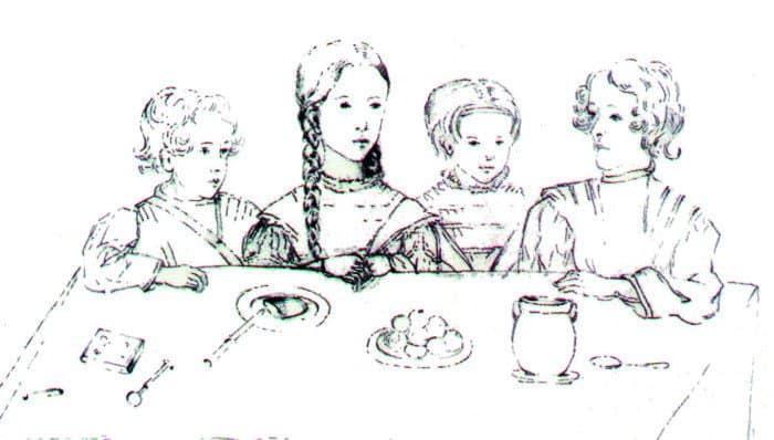Дети А. С. Пушкина и Н. Н. Гончаровой Григорий, Мария, Наталья и Александр. Рисунок Н. Фризенгоф. 1841