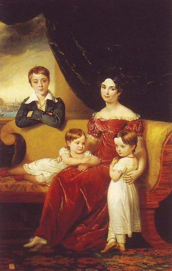 Открытки ко дню матери: Дж. Доу. Портрет М. Я. Нарышкиной с детьми