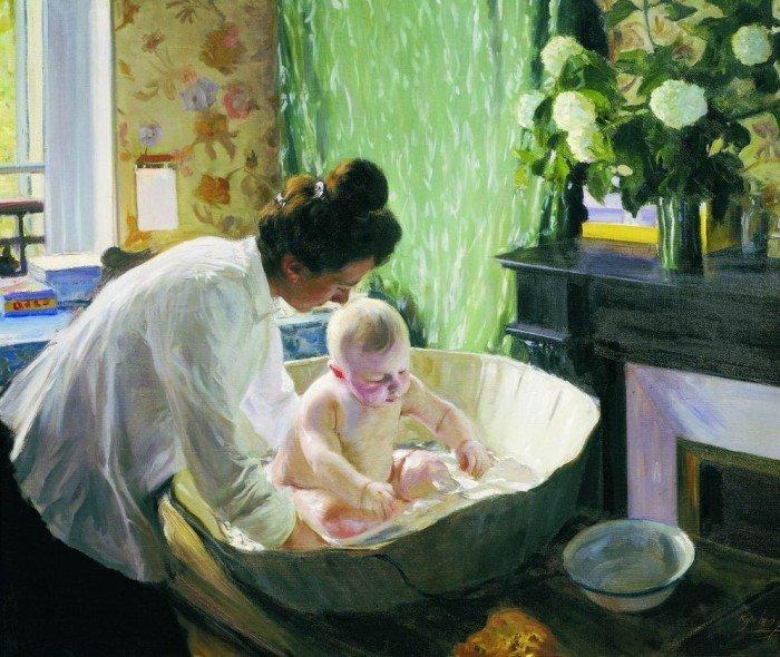 Открытки ко дню матери: Кустодиев Б. М. Утро.