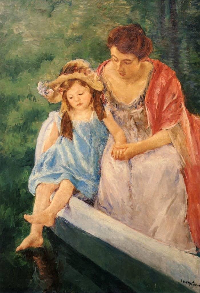 Открытки ко дню матери: Мэри Кассат. Мать и дитя на лодке