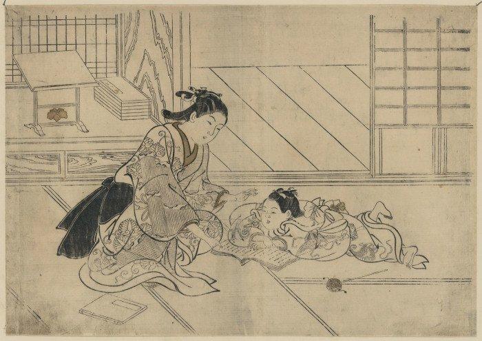 Открытки ко дню матери: Нисикава Сукэнобу. Мать и сын