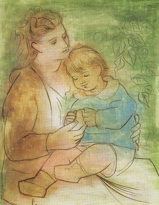 Открытки ко дню матери: Пикассо П. Мать и дитя.