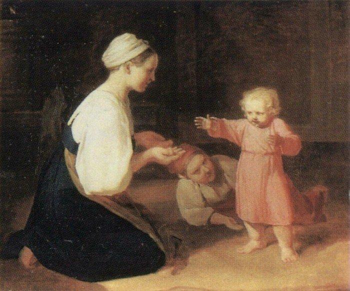Открытки ко дню матери: Венецианов А. Г. Первые шаги. Крестьянка с ребенком