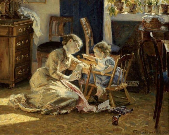 Открытки ко дню матери: Viggo Christian Frederik Vilhelm Pedersen. Mother and child
