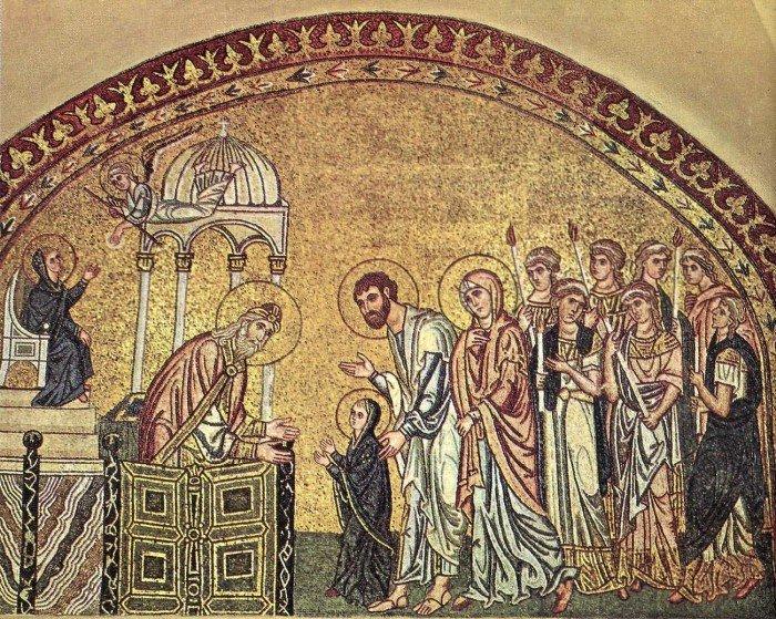 Введение во храм. Мозаика Церкви Успения близ Дафни. Ок. 1100 г. Греция