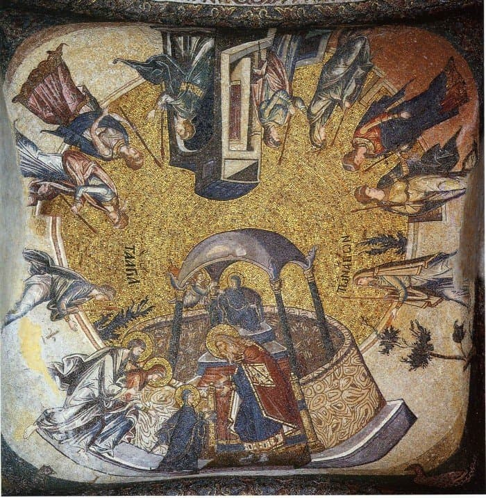 Введение во храм. Мозаика церкви монастыря Хора (Кахрие-джами). Ок.1315—1321 гг. Общий вид свода