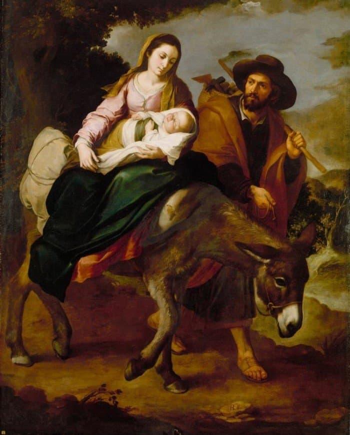 Бегство в Египет. Бартоломе Эстебан Мурильо . Картина XVII века.