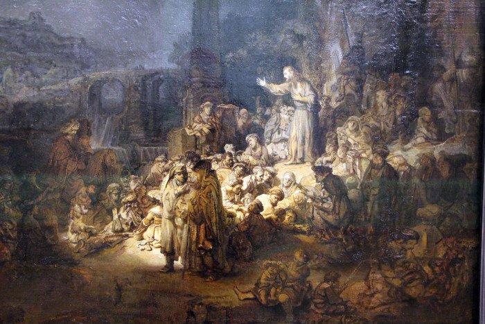 Рембрандт. Проповедь Иоанна Крестителя. 1635