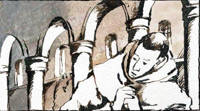 Антонию было всего 20 лет, когда умерли его родители. Однажды, находясь вцеркви иразмышляя, как ему жить дальше, Антоний услышал слова Христа, обращенные кбогатому юноше: Если хочешь быть совершенным, пойди, продай имение твое ираздай нищим; иприходи иследуй за Мною (Мф 19: 21). Антоний продал свое наследство, раздал нищим ипокинул родное селение.