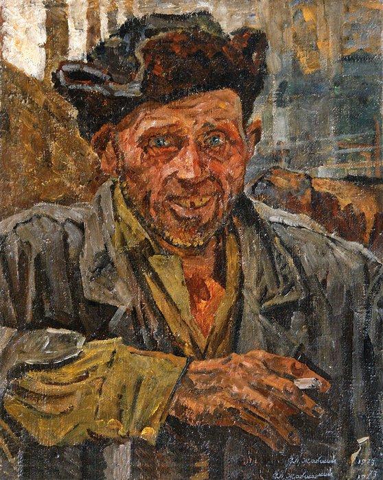 Портрет колхозника (пастух Леня). 1973. Собственность семьи художника