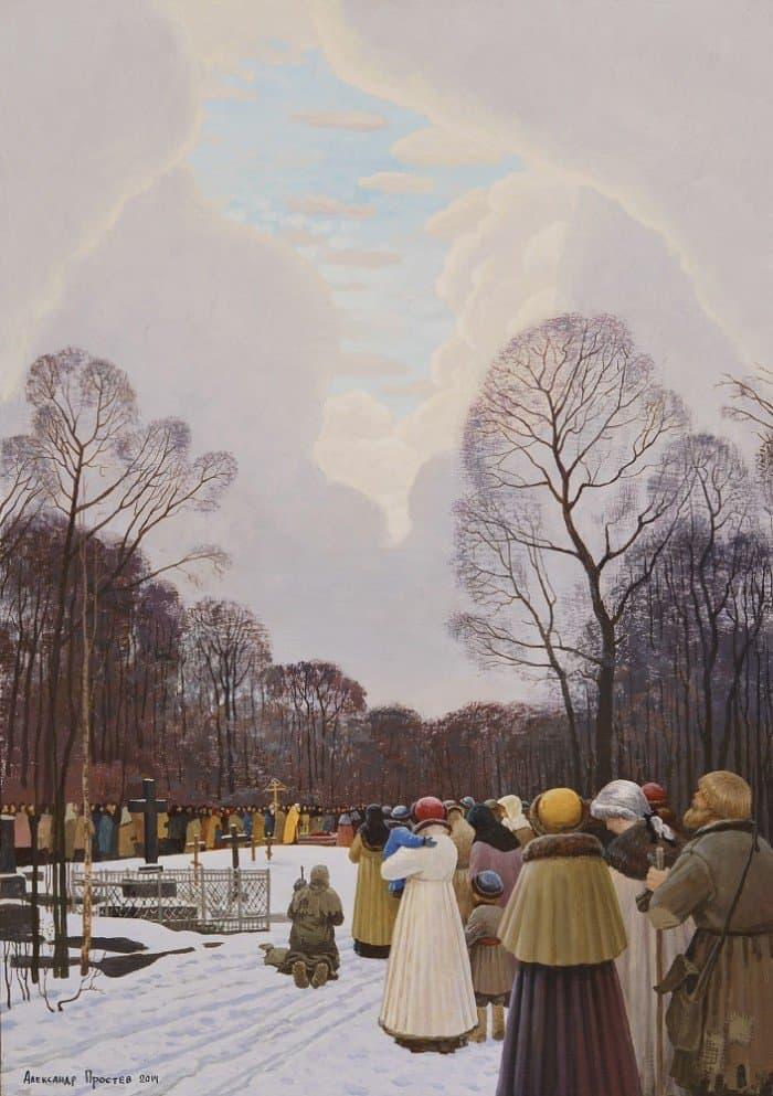 Прощание с Ксенией Петербургской на Смоленском кладбище