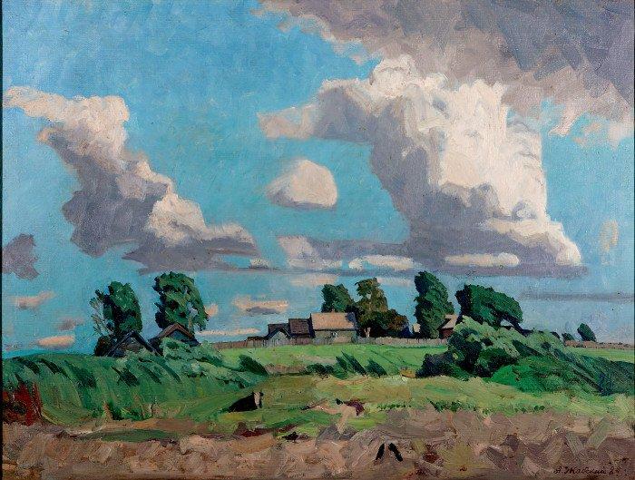 Деревня на берегу р. Улеймы. 1984. Собственность семьи художника