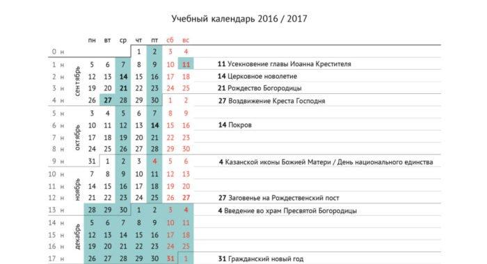 Календарь на учебный год 2016/2017