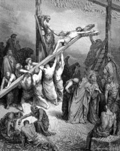 Engraving of Gustave Dore illustration of the Erection of the Cross