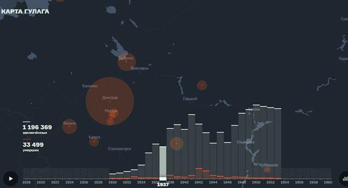 Создана интерактивная карта исправительно-трудовых лагерей в СССР