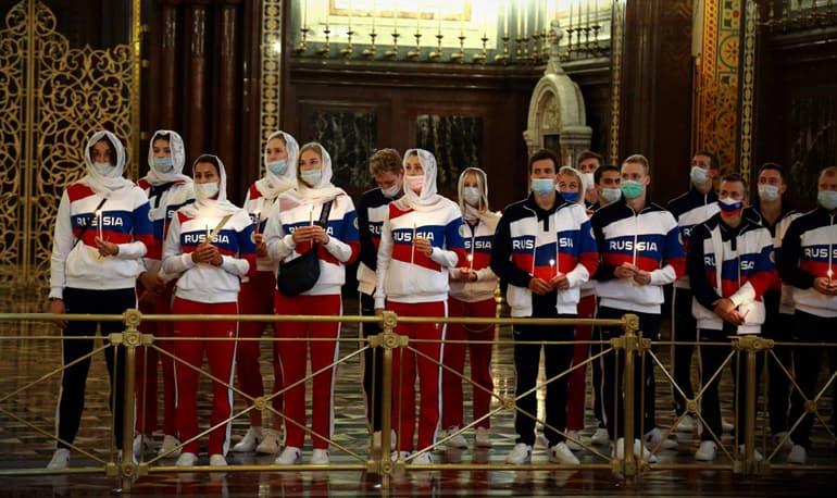 Российские олимпийцы помолились в храме Христа Спасителя перед поездкой в Токио