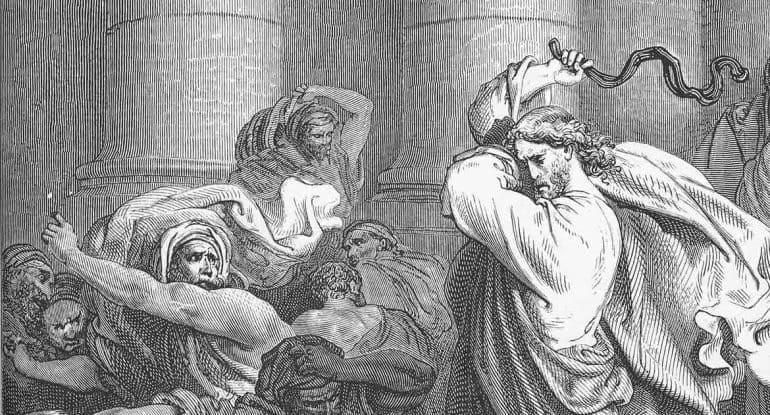 Иисус сделал бич из веревок и выгнал торгующих из храма. Какая же это любовь?